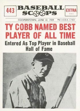 1961 Nu Card Baseball Scoops Ty Cobb Named Best Player Of