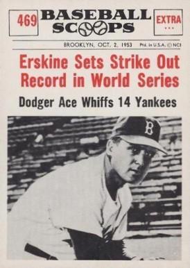 1961 Nu Card Baseball Scoops Erskine Sets Strike Out Record