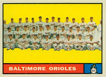 1961 Topps Baltimore Orioles Team #159 Baseball Card