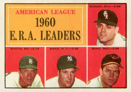 1961 Topps A.L. E.R.A. Leaders #46 Baseball Card