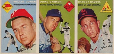 1954 Salesman Sample Panel Topps  Jones/Snider/Haddix # Baseball Card