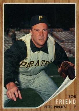 1962 Topps Bob Friend 520 Baseball Card Value Price Guide