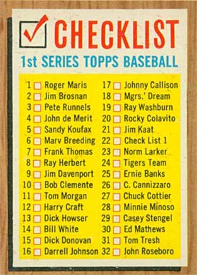 1962 Topps  Checklist #22-#121-176 Baseball Card