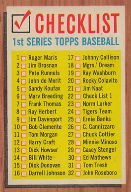 1962 Topps  Checklist #22-#33-88 Baseball Card