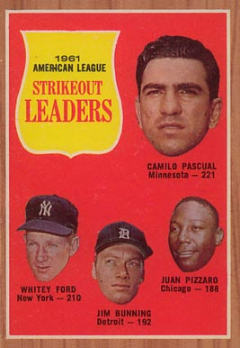 1962 Topps A.L. Strikeout Leaders #59 Baseball Card