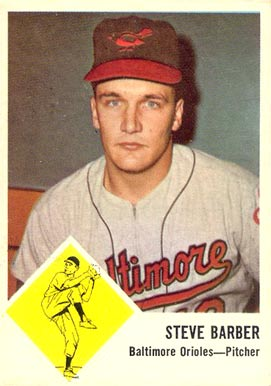 1963 Fleer Steve Barber #1 Baseball Card