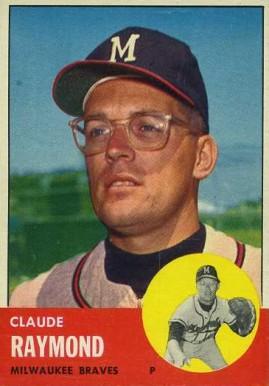 1963 topps claude raymond 519 baseball card value price guide for Claude raymond piscine
