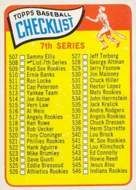 1965 Topps 7th Series Checklist (507-598) #508-SM Baseball Card