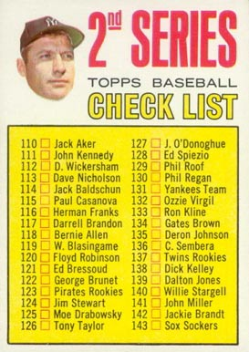 1967 Topps 2nd Series Checklist 110-196 #103a Baseball Card