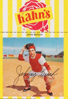 1968 Kahn 39 S Wieners Johnny Bench 24 Baseball Card Value Price Guide