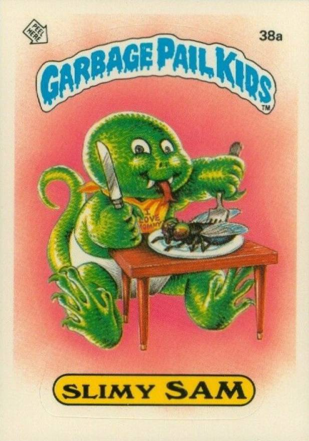1985 Garbage Pail Kids Stickers Glossy Slimy Sam #38a Non-Sports Card