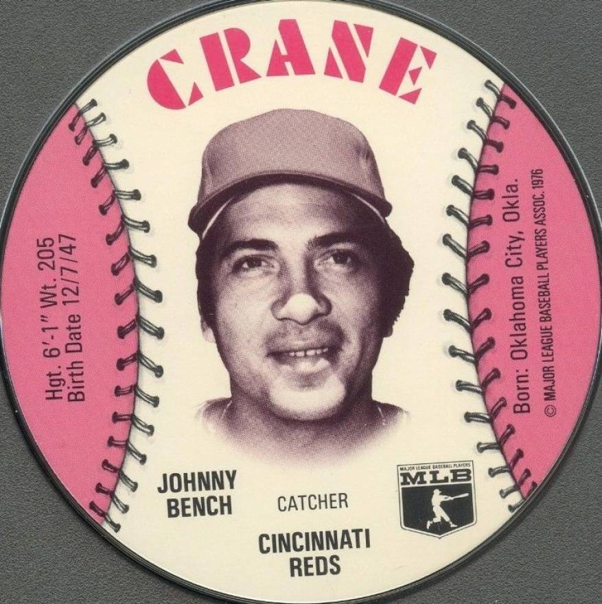 1976 Crane Potato Chips Discs Johnny Bench #2 Baseball Card
