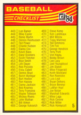 1984 Donruss Checklist #5 443-546 #check-5 Baseball Card