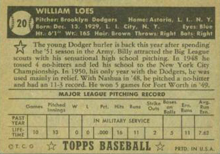 1952 Topps Billy Loes #20b Baseball Card