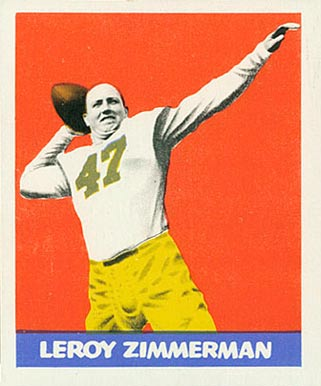 1948 Leaf Leroy Zimmerman #32 Football Card