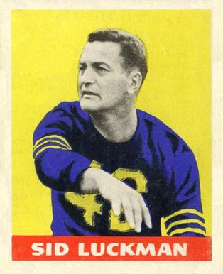1948 Leaf Sid Luckman #1-yel Football Card