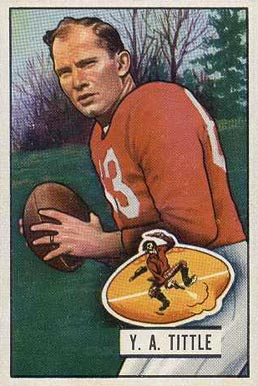 1951 Bowman Y.A. Tittle #32 Football Card