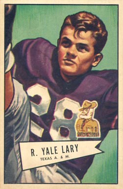 1952 Bowman Large Yale Lary #140 Football Card