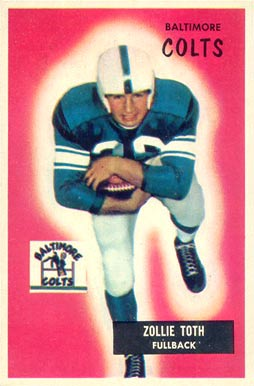 1955 Bowman Zollie Toth #147 Football Card