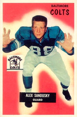1955 Bowman Alex Sandusky #100 Football Card