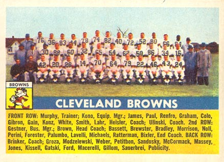 1956 Topps Cleveland Browns Team #45 Football Card