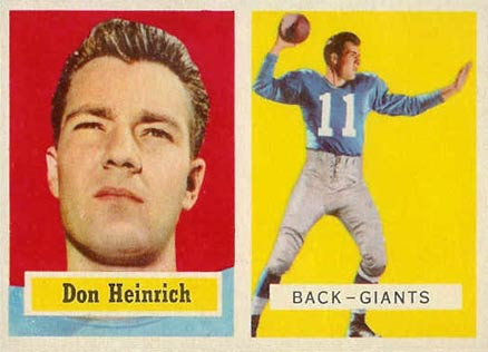 1957 Topps Don Heinrich #47 Football Card