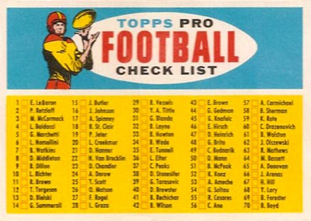 1957 Topps   #Check-Blony Football Card