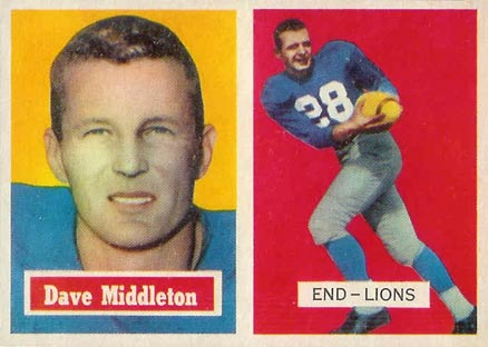 1957 Topps Dave Middleton #8 Football Card