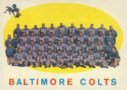 1959 Topps Baltimore Colts Team #17 Football Card