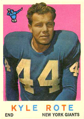 1959 Topps Kyle Rote #7 Football Card