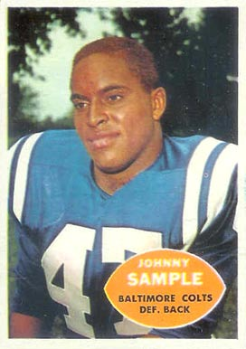 1960 Topps Johnny Sample #9 Football Card