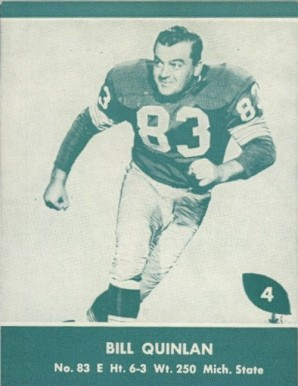 1961 Lake to Lake Packers Bill Quinlan #4 Football Card