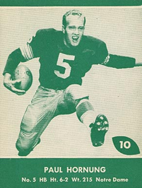 1961 Lake to Lake Packers Paul Hornung #10 Football Card