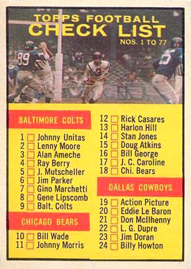 1961 Topps   #67 Football Card