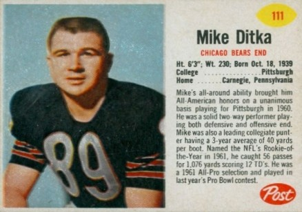 1962 Post Cereal Mike Ditka #111 Football Card