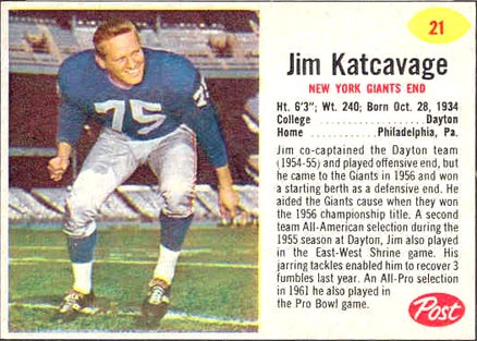 1962 Post Cereal Jim Katcavage #21 Football Card