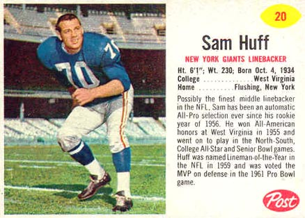 1962 Post Cereal Sam Huff #20 Football Card