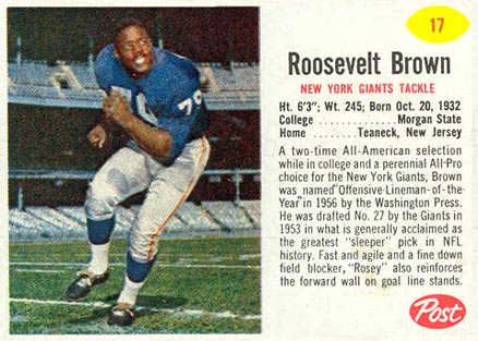 1962 Post Cereal Roosevelt Brown #17 Football Card