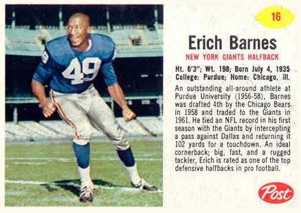 1962 Post Cereal Erich Barnes #16 Football Card