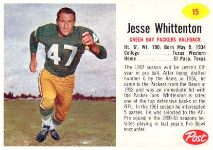 1962 Post Cereal Jesse Whittenton #15 Football Card