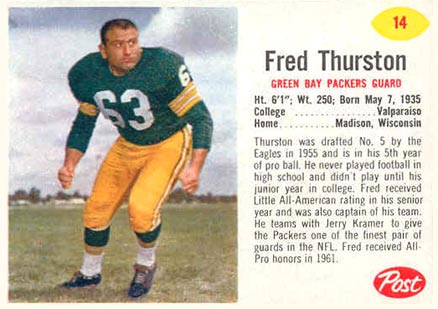1962 Post Cereal Fuzzy Thurston #14 Football Card