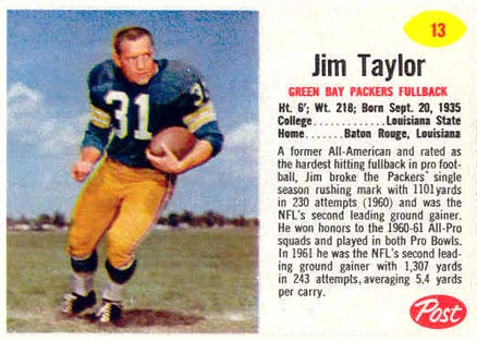 1962 Post Cereal Jim Taylor #13 Football Card