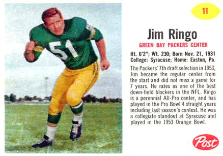 1962 Post Cereal Jim Ringo #11 Football Card