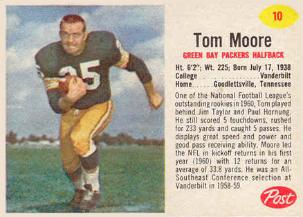 1962 Post Cereal Tom Moore #10 Football Card