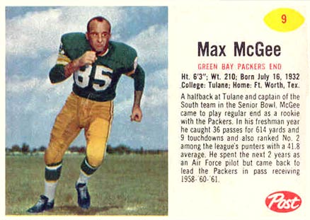 1962 Post Cereal Max McGee #9 Football Card
