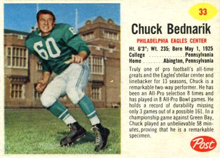 1962 Post Cereal Chuck Bednarik #33 Football Card