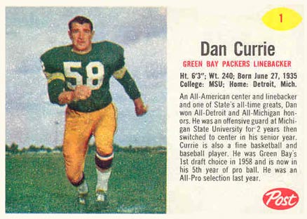 1962 Post Cereal Dan Currie #1 Football Card