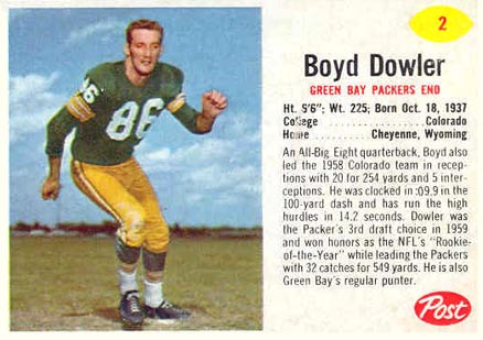1962 Post Cereal Boyd Dowler #2 Football Card