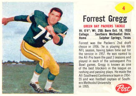 1962 Post Cereal Forrest Gregg #4 Football Card