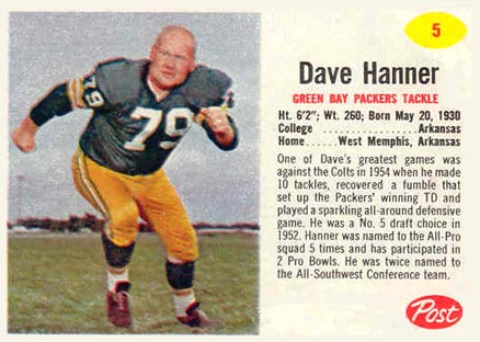 1962 Post Cereal Dave Hanner #5 Football Card